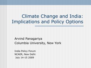 Climate Change and India: Implications and Policy Options