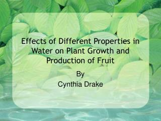 Effects of Different Properties in Water on Plant Growth and Production of Fruit