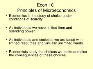 Econ 101 Principles of Microeconomics