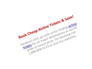 Book Cheap Airline Tickets & Save!