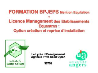 FORMATION BPJEPS Mention Equitation  Licence Management des Etablissements Equestres :  Option cr ation et reprise d ins