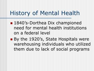 History of Mental Health