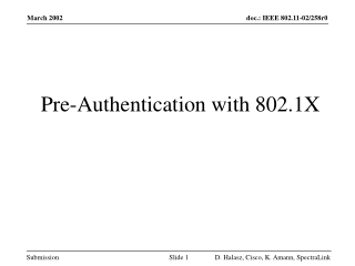 IEEE 802.1X Pre-Authentication