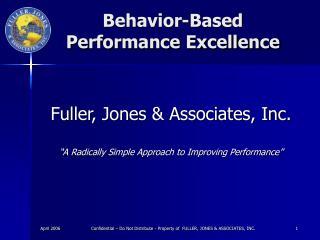 Behavior-Based  Performance Excellence