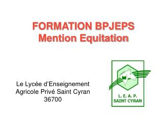 FORMATION BPJEPS Mention Equitation