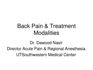 Back Pain & Treatment Modalities