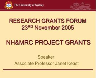 NH&MRC PROJECT GRANTS