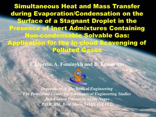 Simultaneous Heat and Mass Transfer during Evaporation