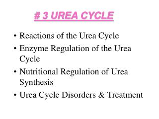 # 3 UREA CYCLE