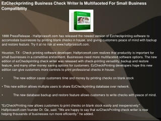 EzCheckprinting Business Check Writer Is Multifaceted For Sm