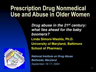 Prescription Drug Nonmedical Use and Abuse in Older Women