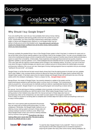 Buy Google Sniper for Guaranteed Online Earnings