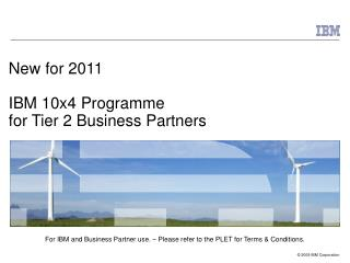 New for 2011 IBM 10x4 Programme  for Tier 2 Business Partners