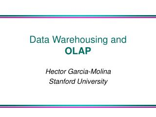 Data Warehousing and OLAP