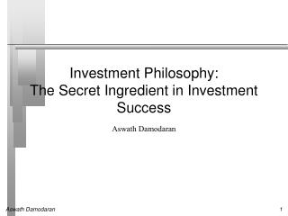 Investment Philosophy: The Secret Ingredient in Investment Success