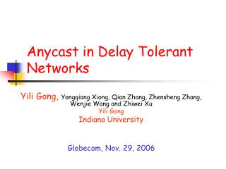 Anycast in Delay Tolerant Networks