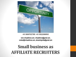Small business as AFFILIATE RECRUITERS