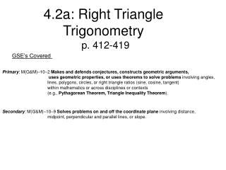 4.2a: Right Triangle Trigonometry