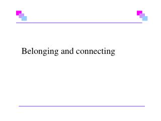 Belonging and connecting