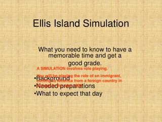 Ellis Island Simulation
