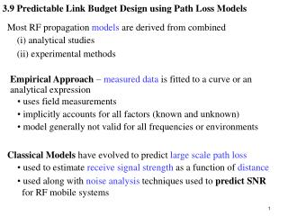 3.9 Predictable Link Budget Design using Path Loss Models