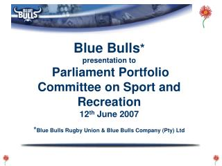 Blue Bulls * presentation to Parliament Portfolio Committee on Sport and Recreation 12 th  June 2007 * Blue Bulls Rugby