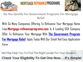 Do You Qualify For Government Programs For Mortgage Relief