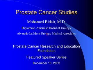 Prostate Cancer Studies