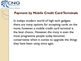 Payment  by Mobile Credit Card Terminals