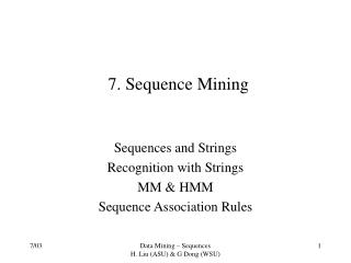 7. Sequence Mining