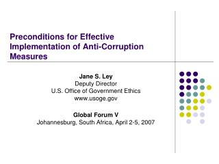 Preconditions for Effective Implementation of Anti-Corruption Measures