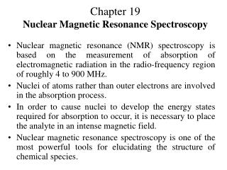 Chapter 19 Nuclear Magnetic Resonance Spectroscopy