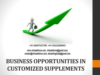 BUSINESS OPPORTUNITIES IN CUSTOMIZED SUPPLEMENTS
