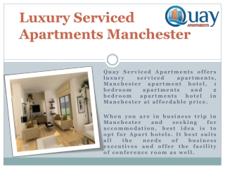 Luxury Serviced Apartments In Manchester