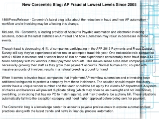 New Corcentric Blog: AP Fraud at Lowest Levels Since 2005