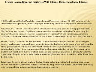 Brother Canada Engaging Employees With Intranet Connections