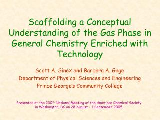 Scaffolding a Conceptual Understanding of the Gas Phase in General Chemistry Enriched with Technology