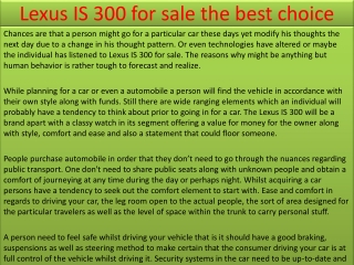 Lexus IS 300 for sale the best choice