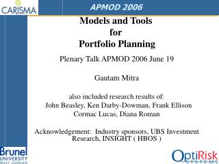 Models and Tools  for  Portfolio Planning