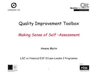 Quality Improvement Toolbox Making Sense of Self –Assessment  Amena Matin   LSC  co-financed ESF O3 pan-London 2 Progr