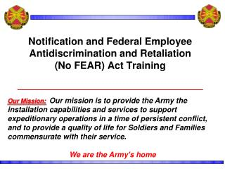 Notification and Federal Employee Antidiscrimination and Retaliation  No FEAR Act Training