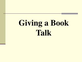 Giving a Book Talk