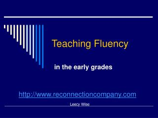 Teaching Fluency