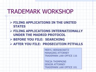 TRADEMARK WORKSHOP