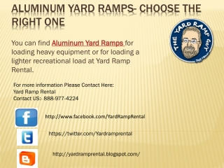 Aluminum Yard Ramps- Choose The Right One