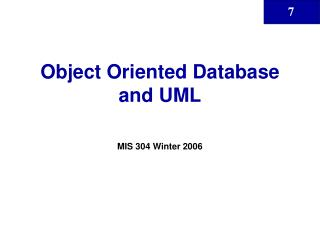 Object Oriented Database and UML