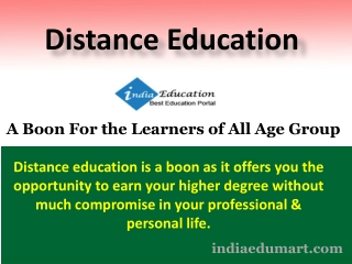 Distance Education A Boon For the Learners of All Age Group