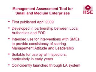 Management Assessment Tool for Small and Medium Enterprises