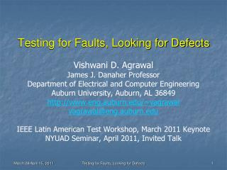 Testing for Faults, Looking for Defects