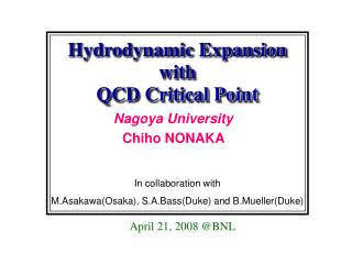 Hydrodynamic Expansion with  QCD Critical Point